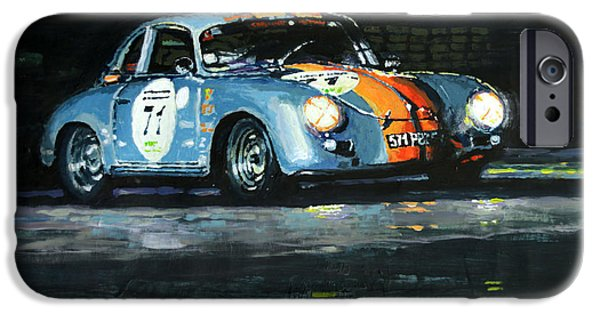 Motor Sport iPhone Cases - Porsche 356 A 1959 Le Mans Classic 2010 iPhone Case by Yuriy Shevchuk