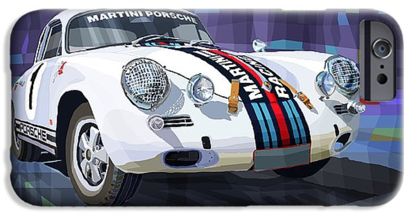 Racing Mixed Media iPhone Cases - Porsche 356 Martini Racing iPhone Case by Yuriy Shevchuk