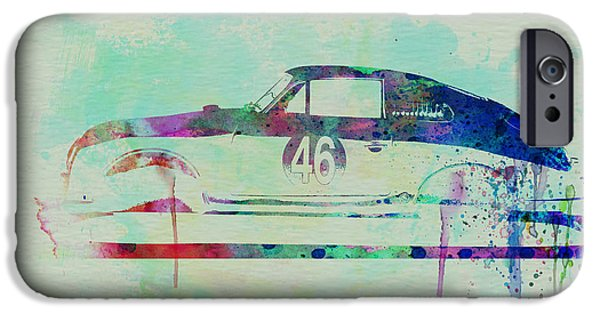 Automotive Drawings iPhone Cases - Porsche 356 Watercolor iPhone Case by Naxart Studio