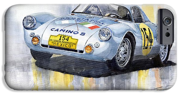 Vintage Car iPhone Cases - Porsche 550 Coupe 154 Carrera Panamericana 1953 iPhone Case by Yuriy  Shevchuk