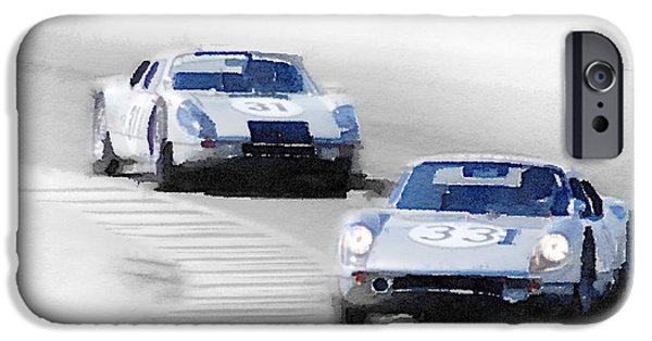 Racing iPhone Cases - Porsche 904 Racing Watercolor iPhone Case by Naxart Studio