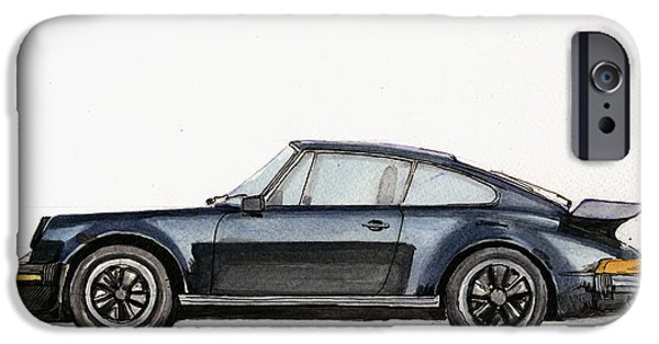 Original Watercolor iPhone Cases - Porsche 911 930 turbo iPhone Case by Juan  Bosco