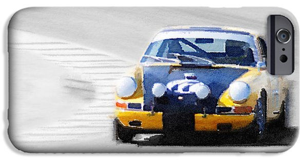 Old Cars iPhone Cases - Porsche 911 on Race Track Watercolor iPhone Case by Naxart Studio