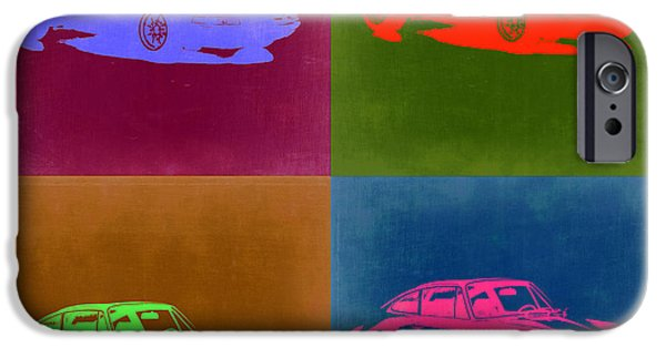 Concept Digital Art iPhone Cases - Porsche 911 Pop Art 3 iPhone Case by Naxart Studio