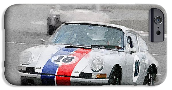 Old Cars iPhone Cases - Porsche 911 Race in Monterey Watercolor iPhone Case by Naxart Studio