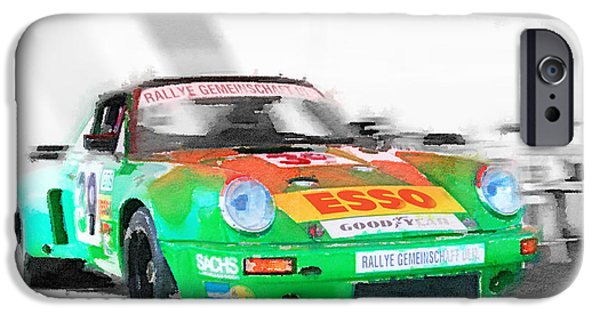 Vintage Car Mixed Media iPhone Cases - Porsche 911 Turbo Watercolor iPhone Case by Naxart Studio