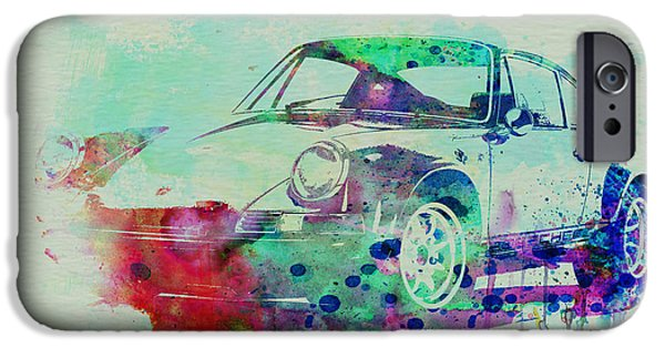Vintage Cars iPhone Cases - Porsche 911 Watercolor 2 iPhone Case by Naxart Studio