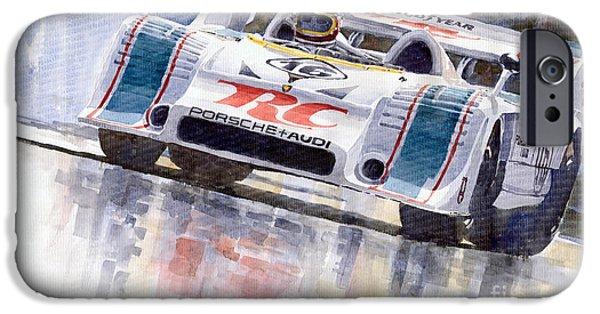 Racingcars iPhone Cases - Porsche 917 10 RC Cola Team Follmer iPhone Case by Yuriy  Shevchuk