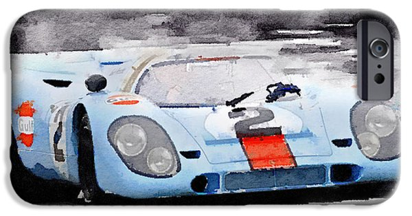 Old Cars iPhone Cases - Porsche 917 Gulf Watercolor iPhone Case by Naxart Studio