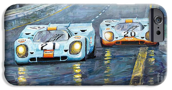 Sport Paintings iPhone Cases - Porsche 917 K GULF Spa Francorchamps 1970 iPhone Case by Yuriy  Shevchuk