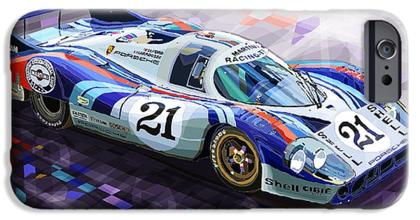 Classic Racing Car iPhone Cases - Porsche 917 LH Larrousse Elford 24 Le Mans 1971 iPhone Case by Yuriy  Shevchuk