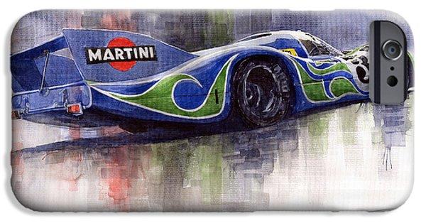 Racingcars iPhone Cases - Porsche 917 Psychodelic  iPhone Case by Yuriy Shevchuk