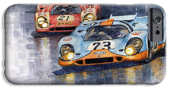 Porsche 917k iPhone Cases - Porsche 917K 1000km Zeltweg Austria 1970  iPhone Case by Yuriy Shevchuk