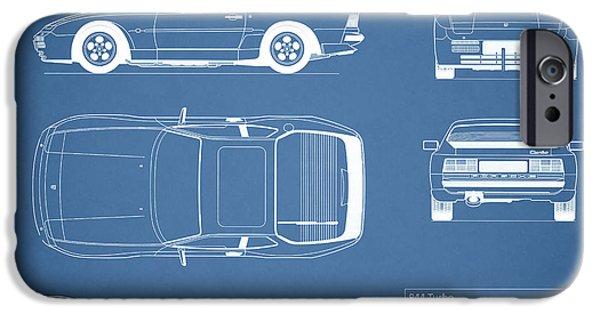 Turbo iPhone Cases - Porsche 944 Blueprint iPhone Case by Mark Rogan