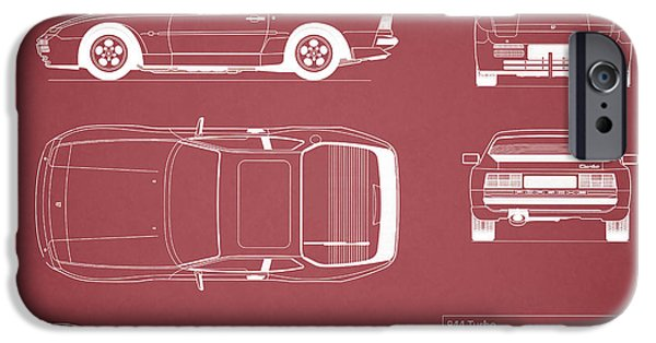 Turbo iPhone Cases - Porsche 944 Blueprint - Red iPhone Case by Mark Rogan