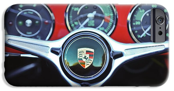 Cars iPhone Cases - Porsche C Steering Wheel Emblem -1227c iPhone Case by Jill Reger