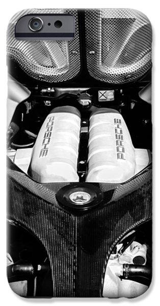 Photography Prints iPhone Cases - Porsche Carrera GT Engine -0339bw iPhone Case by Jill Reger