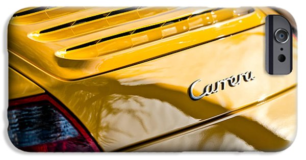 Photography Prints iPhone Cases - Porsche Carrera Taillight Emblem -0568c iPhone Case by Jill Reger