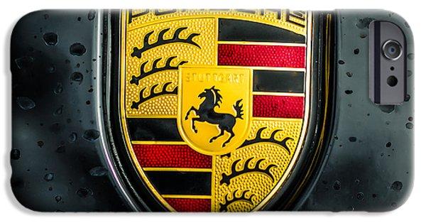 Print Photographs iPhone Cases - Porsche Emblem -0006c55 iPhone Case by Jill Reger