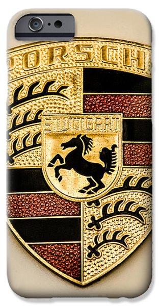Jill Reger Photography iPhone Cases - Porsche Hood Emblem - 0464c45 iPhone Case by Jill Reger