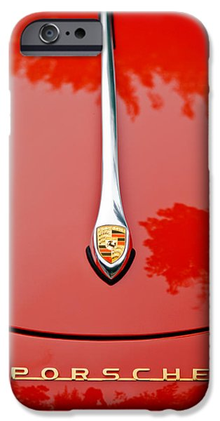 Ornament iPhone Cases - Porsche Hood Emblem -0516c iPhone Case by Jill Reger