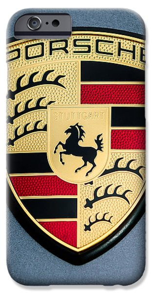 Jill Reger Photography iPhone Cases - Porsche Hood Emblem - 0698c45 iPhone Case by Jill Reger