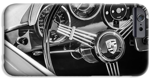 Photography Prints iPhone Cases - Porsche Steering Wheel Emblem -2043bw iPhone Case by Jill Reger