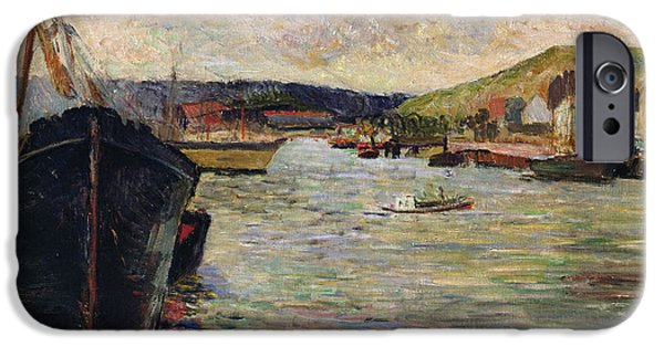 Boat iPhone Cases - Port At Rouen Oil On Canvas iPhone Case by Paul Gauguin