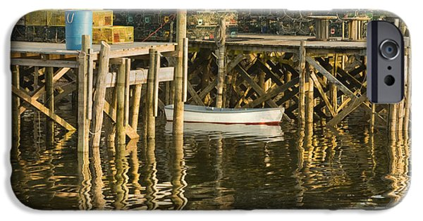 Maine Shore iPhone Cases - Port Clyde Maine Small Boat and Harbor iPhone Case by Keith Webber Jr