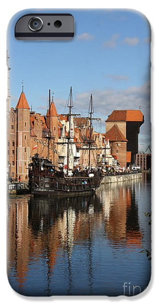 Pirate Ships iPhone Cases - Port Crane Over Motlawa River iPhone Case by Christiane Schulze Art And Photography