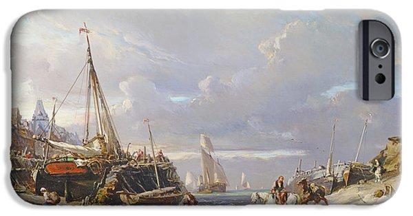 Horse iPhone Cases - Port En Bretagne, 1861 Oil On Canvas iPhone Case by Louis Eugene Gabriel Isabey