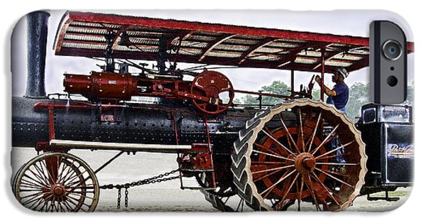 Agriculture iPhone Cases - Port Huron Steam Tractor With Engineer iPhone Case by F Leblanc