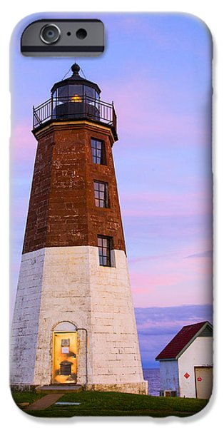 New England Lighthouse iPhone Cases - Port Judith At Sunset iPhone Case by Karol  Livote