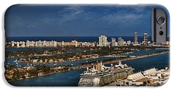 Water iPhone Cases - Port Of Miami Panoramic iPhone Case by Susan Candelario