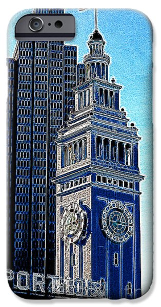 Clock Shop iPhone Cases - Port of San Francisco Ferry Building on The Embarcadero 5D20834 Artwork iPhone Case by Wingsdomain Art and Photography