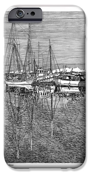 Pen And Ink Drawing Drawings iPhone Cases - Reflections of Port Orchard Washington iPhone Case by Jack Pumphrey