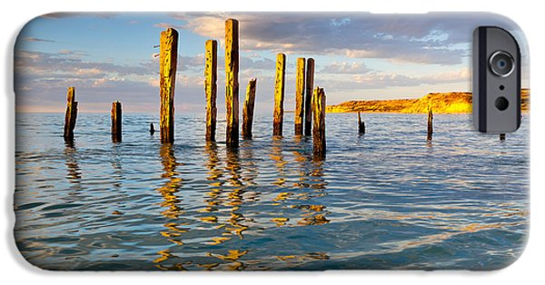 Ruin Photographs iPhone Cases - Port Willunga Jetty Ruins iPhone Case by Bill  Robinson