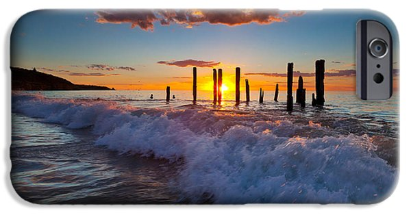 Ruin Photographs iPhone Cases - Port Willunga Jetty Ruins Sunset iPhone Case by Bill  Robinson