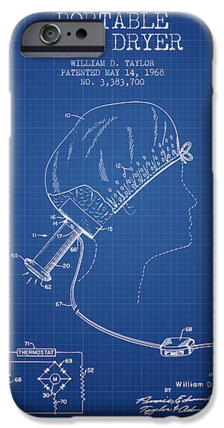 Cutting iPhone Cases - Portable Hair Dryer patent from 1968 - Blueprint iPhone Case by Aged Pixel