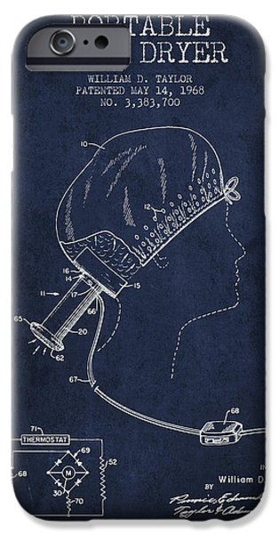 Cutting iPhone Cases - Portable Hair Dryer patent from 1968 - navy Blue iPhone Case by Aged Pixel