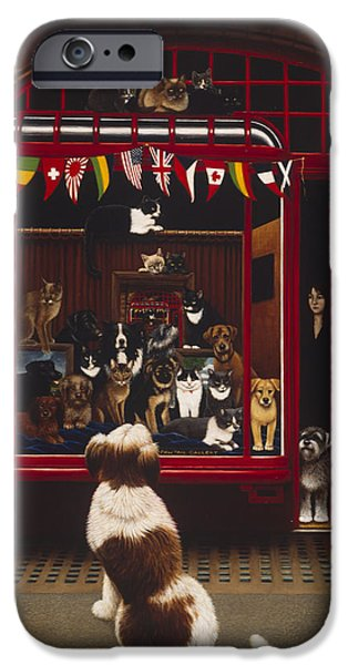 Owner Photographs iPhone Cases - Portal Pet Show, 1993 Oils & Tempera On Panel iPhone Case by Frances Broomfield