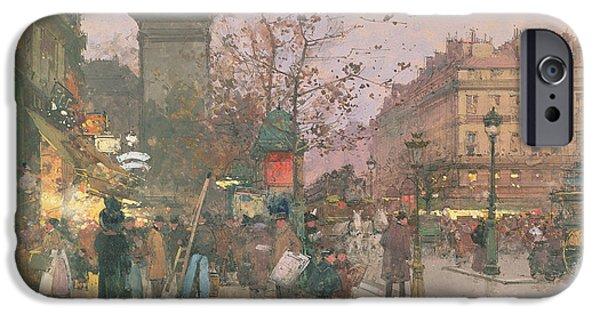 Nineteenth iPhone Cases - Porte Saint Denis iPhone Case by Eugene Galien-Laloue