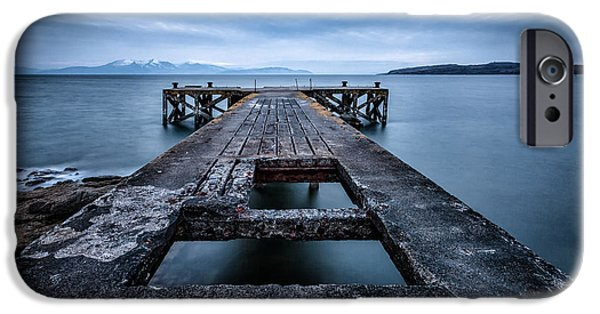 Misty Prints iPhone Cases - Portencross Pier  and views to Arran iPhone Case by John Farnan