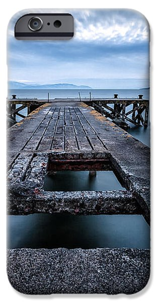Portencross Pier  and views to Arran iPhone Case by John Farnan
