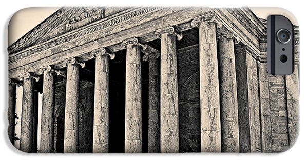 Constitution iPhone Cases - Portico of The Jefferson Memorial iPhone Case by Tom Gari Gallery-Three-Photography