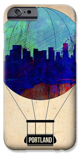 Towns Digital Art iPhone Cases - Portland Air Balloon iPhone Case by Naxart Studio