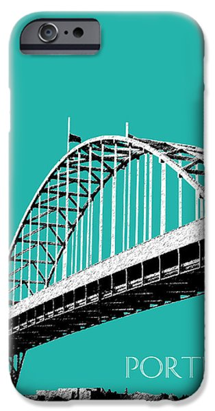 Architecture Digital iPhone Cases - Portland Bridge - Teal iPhone Case by DB Artist