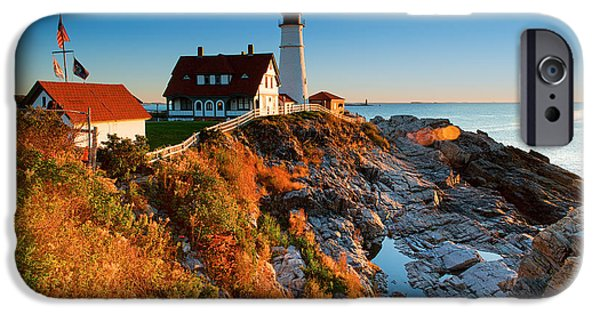 Pemaquid Lighthouse iPhone Cases - Portland head Light 11 iPhone Case by Emmanuel Panagiotakis