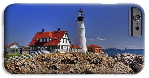 New England Lighthouse iPhone Cases - Portland Head Light 3 iPhone Case by Joann Vitali