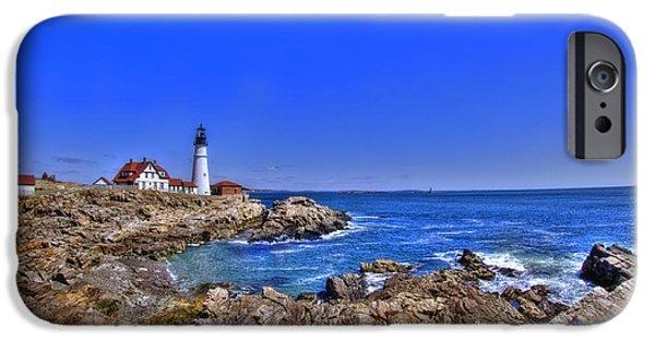 New England Lighthouse iPhone Cases - Portland Head Light 4 iPhone Case by Joann Vitali